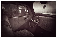 Parked at The Beach (Loegan Magic) Tags: secondlife car vw volkswagen beach ocean waves steeringwheel radio knobs seats interior windows nativesoul blackandwhite vintage