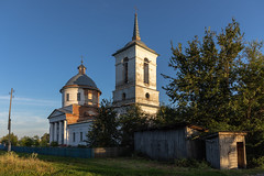 Church at sunset. (Oleg.A) Tags: old building cathedral penzaregion russia church nature dome brick city outdoor rural materials viewpoint exterior bell countryside summer sunset orthodox tree evening tower twilight town architecture cross landscape village design style catedral landscapes outdoors penzenskayaoblast ru
