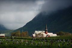 Eschatology, Flakstad style (DoctorMP) Tags: lofoten flakstadoya nordland norway flakstad summer outdoors mountains church graveyard cementery graves
