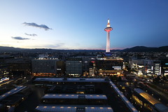 Kyoto tower (Teruhide Tomori) Tags: 京都タワー 京都駅 日本 京都 夜景 ライトアップ 建築 architecture building construction kyoto kyototower kyotostation light night japan japon sky city evening sunset