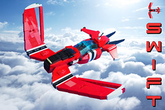 Swift Air Racer (David Roberts 01341) Tags: lego aeroplane airplane aircraft future dieselpunk red minifigure scifi racer skyfi