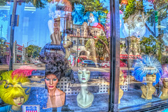 Wigstock (Michael F. Nyiri) Tags: hollywood wig reflections window california southerncalifornia hollywoodblvd arty
