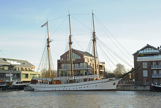 Three-master sailing ship in the old harbour of Leer (East Frisia)