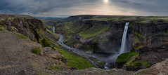 Soft light over the valley (Haifoss) (roelbleeker) Tags: haifoss iceland waterfall valley rocks mountains mountain water exposure green grass red blue light orange stones stone rock river nikon d750 2401200mm f110