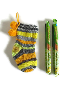 Christmas Stocking Stuffer - Hand Knitted Yellow Stripes Wool Pom Pom Socks