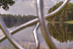 Art As Obstruction (pni) Tags: water lake art metal blur dof sky cloud building taidekeskus artcentre salmela mäntyharju finland suomi pekkanikrus skrubu pni