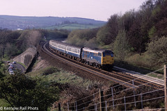Buxworth Curve Memories (Kernow Rail Phots) Tags: buxworth curve chinley derbyshire class31 silver roof roofed br britishrail bluegrey coaches mk1 mk2 tracks railway railways railroad train trains locomotive manchester piccadilly sheffield saturday 23rd april 1988 trees scenic scenery sunny road wall cars
