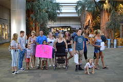 Waiting for Maddie (radargeek) Tags: 2018 september ca california travel fresno fat airport kid children child family reunion signs welcome trees