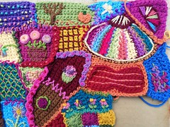 The nearly completed upper right and corner of the crazy quilt crochet panel (crochetbug13) Tags: crochet crocheted crocheting crochetblanket crochetafghan crazyquilt embroidery