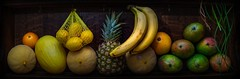 Vegan's Delight (Victor Burclaff) Tags: fruit mango banana lemon orange melon pineapple panorama display vegan