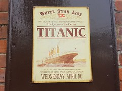 Titanic sign (DorsetBelle) Tags: eppingongarrailway ongarstation titanicsign whitestarline whitestarlinenotice signs railwaysigns advertising advertisingsigns vitreousenamelsigns enamelsigns