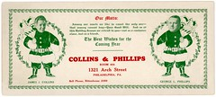 Collins and Phillips Blotter—Best Wishes for the Coming Year (Alan Mays) Tags: ephemera inkblotters advertisingblotters blotters advertising advertisements ads greetings paper printed christmas xmas december25 newyear holidays collinsphillips collinsandphillips collins jamesjcollins phillips georgelphillips theatricalbookingagencies bookingagencies theatricalagencies agencies agents entertainmentbureaus entertainment santaclaus santa men imposters bags toys wreaths holly disembodiedheads heads disembodied customers mottos illustrations borders red green bellphone rittenhouse rittenhouse2360 archstreet philadelphia pa pennsylvania antique old vintage typefaces type typography fonts