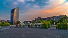 Liège. Belgium: Liège-Guillemins railway station (nabobswims) Tags: belgianrailways belgium hdr highdynamicrange lightroom liège liègeguillemins nabob nabobswims night nightfoto photomatix sel18105g sncb sonya6000 station sunset wallonie be