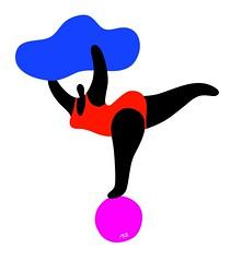 Maria Zaikina, Big Acrobat, digital graphics (suzy_yes) Tags: mariazaikina acrobat akrobat sport fat love art woman big mama ball cloud gym fun simple happiness bather gymnast