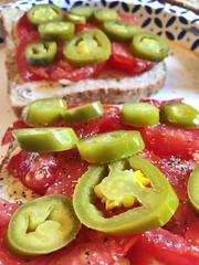 Tomato and jalapeño sandwiches (Karol Franks) Tags: yum sogood fave green red tomato jalapeños sandwich love inmygarden homegrown summer