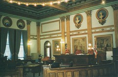 Newark  Ohio - Licking County Courthouse - Interior Courtroom (Onasill ~ Bill Badzo - 56 Million Views - Thank Yo) Tags: newark ohio oh lickingcouny courthouse interior court bench murals nrhp landmark historic architecture second empire style victorian courthousesquare historical townsquare onasill exterior building lady justice sculptures mainstreet downtown classical civic restaurant shops stores 167 old vintage photo 192