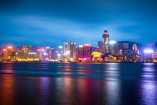 Hong Kong Island skyline view from Kowloon, Hong Kong