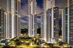 Singapore's new public housing (jacysf) Tags: publichousing bluehour cityvue newhousing urban cityscape throughherlens highrisebuilding highrise