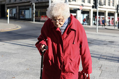 The Lady in the Red Coat (jtkmcc) Tags: streetphotography streetphoto nottingham candid