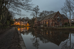 As night falls (Explore 07/09/18 #36) (andyrousephotography) Tags: worsley oldoilstores dukeswharf bridgewatercanal canal towpath packethouse lamps historic waterways dusk bluehour longexposure
