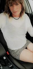 bare leggies (Sometimes Emma) Tags: tgirl transvestite tranny crossdresser wig makeup bra mini skirt sandels outdoor fem fun