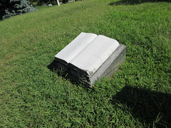 Marble Book Grave Marker Green-Wood Cemetery 9257 (Brechtbug) Tags: marble book grave marker greenwood cemetery statue gown graveyard tomb tombstone crypt mausoleums angels standing posed green wood brooklyn new york city 2018 nyc 09012018 books reading album folio tome brown stone