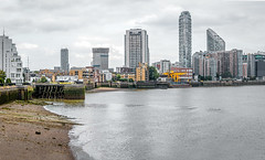 Low tide (PhredKH) Tags: 70200mm architecture buildings canoneos7dmkii canonphotography cityscape ef70200mmf28lisiiusm eastlondon fredkh isleofdogs london lowtide photosbyphredkh phredkh riverthames skyline splendid thames thamesriver cityoflondon clouds river riverbank scenicwater sky water