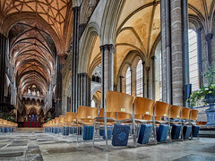 Arches and Columns and Chairs (Doug.King) Tags: church cathedral interior columns arches gothic chairs wood floor windows nave colour color salisbury wiltshire canon eosm6 wideangle
