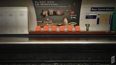 "Rue Saint-Maur Station (Corbicus Maximus) Tags: ""iphone6s"" ""mobilephotography"" mobile iphonography iphone deserted empty french france poster seat seating ikea orange platform ""metrostation"" metro ""parismetro"" ""trainstation"" ""ruesaintmaur"""