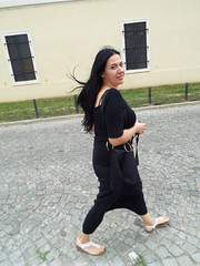 Are you following me:) Nina at Petrovaradin Fortress in Novi Sad, Serbia (sean and nina) Tags: nina petrovaradin fortress novi sad serbia srbija serb walking unposed candid street path feet white sandals black top clothes skirt long brunette hair hand bag august summer 2018 balkan balkans glance over shoulder face gorgeous stunning beauty beautiful charm woman female girl lady girlfriend fiancee wife married brown eyes pink lips natural tan loving smile cute cobble stones history europe european outdoor outside smiling happy funny fun