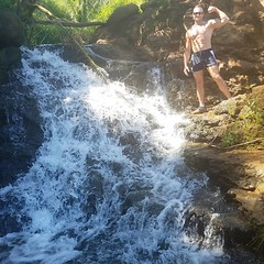 top of waterfall (ddman_70) Tags: shirtless pecs abs muscle flexing waterfalls hiking