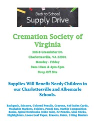 Cremation Society of Virginia - Charlottesville: School Supply Drive