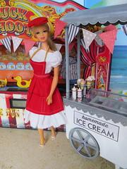 3. Ice cream vendor (Foxy Belle) Tags: doll barbie vintage carnival summer circus food uniform work 16 scale miniature dollhouse dolls diorama playscale stacey mod cousin sand beach fair boardwalk
