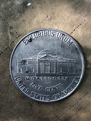 Copy of the coin where Thomas Jefferson's #Monticello can be found. Home of the 3rd U.S. president and author of America's Declaration of Independence. A UNESCO World Heritage Site. #sfamilytravels #Virginia #USA (Travel Galleries) Tags: home thomas jefferson unum pluribus e history travel site heritage world va us unesco cents five 5 coin monticello sfamilytravels virginia usa