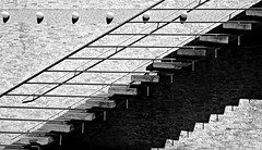 Theater Münster (I) (pix-4-2-day) Tags: stairs treppe treppen backstein bricks wall mauer wand shadow schatten geländer handrail steps stufen leuchten lampen lamps lines linien diagonal horizontal münster pix42day