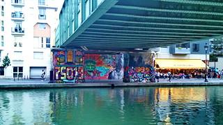 81 PARIS en août 2018 - Quai de la Marne au bord du canal de l'Ourcq