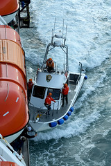 Picking Up The Park Rangers (Anthony Mark Images) Tags: lifeboats nationalparkrangers boat cruiseship wake water ocean sea orange people helmets orangejackets hollandamericalines mseurodam glacierbay alaska usa 49thstate nikon d850 sundaylights