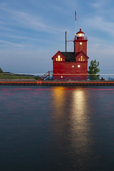 Red Light Trails House (matthewkaz) Tags: bigred bigredlighthouse hollandharborlight lighthouse red lighttrail lighttrails dusk windows light hollandharbor channel lakemichigan lake water greatlakes sky clouds reflection reflections longexposure holland michigan summer puremichigan twilight 2018