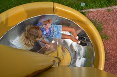Violet On The Spiral Slide (Joe Shlabotnik) Tags: 2018 aroostook violet august2018 justviolet maine playground vanburen afsdxvrzoomnikkor18105mmf3556ged