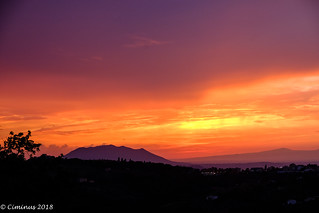 Fire sunset behind the Soratte mount (Northern Lazio, Italy).