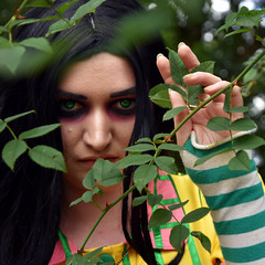 Green eyed girl (Travis Pictures) Tags: model girl woman lady face woods woodland leaves green eyes goth nikon d7200 photoshop outdoors outside summer