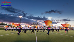 The Marching Wildcats (Scottwdw) Tags: nysphsaa camillus classaa football highschool mikemesserefield newyork sectioniii sports varsity westgenesee wildcats unitedstatesofamerica 840 marchingband flags colorguard field sky clouds lights nikond750 nikonafs1635mmf4gedvr uwa wideangle dusk