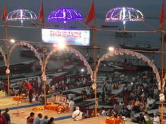 ganga seva nidhi (2) (kexi) Tags: varanasi india asia celebration ritual people many crowd lights thebluehour water river ganges ganga holy gangasevanidhi samsung wb690 february 2017 3 three boats text benares uttarpradesh