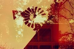 [ tilting in redscale ] (ǝlɐǝq ˙M ʍǝɥʇʇɐW) Tags: film 35mm redscale redscalefilm windhandcaughtinthedoor windmill tilting doubleexposure incamera randomcomposition embracingthechaos creativeprocess texas red