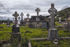 cemetery (-liyen-) Tags: cemetery ireland dingle highcrosses tombstones graves cloudy fujixt1 challengeyouwinner cyunanimous