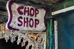 CHOP SHOP (holly hop) Tags: derelict decay ruraldecay wall windows rural tin old abandoned empty chopshop sign faded postprocessing sliderssunday