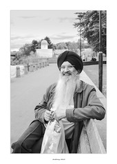 The wise man (AnthonyCNeill) Tags: asian man turban beard glasses sitting park bench outdoor black white schwarz weiss noir blanc blanco negro portrait street fujifilm fuji x100f acros monochrome