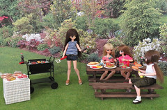 Picco Neemo Barbeque (MurderWithMirrors) Tags: picconeemo azone doll barbeque bbq hotdog hamburger kabob plate grille bench picnictable ketchup mustard ranch tomato cheese soda buns miu lien himeno pureneemo excute mwm