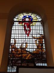 St Peter upon Cornhill (sarflondondunc) Tags: stpeteruponcornhill stainedglasswindow tankregiment fearnaught ww2 cornhill cityoflondon london royaltankregiment
