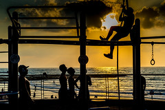 Into the Sun-DSC_6092-2 (thomschphotography3) Tags: israel telaviv sun sunset sports men youngmen gym outdoorgym climbing silhouette streetphotography beach sea ocean clouds sky